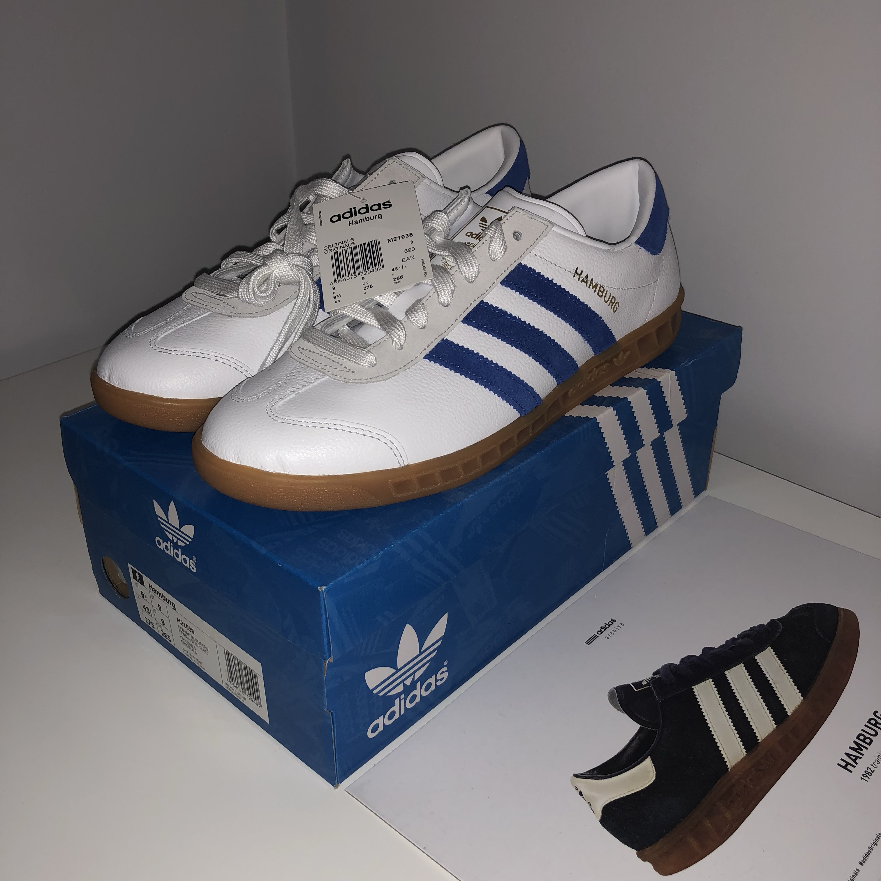 Adidas Hamburg, White leather, blue suede stripes and...