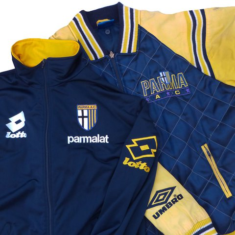 605022575 Two Vintage 90s F.C. Parma Jackets Lotto   Umbro From the - Depop