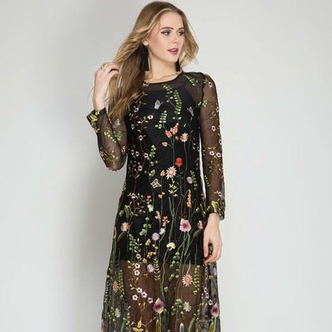 d5023010 @essieade. last year. Brighton, United Kingdom. Floral Mesh Embroidery  Embroidered Dresses ...