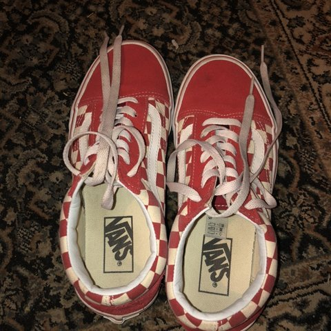 7f1fcf4295 Red checkered old skool vans. Worn a bit and are kind of but - Depop