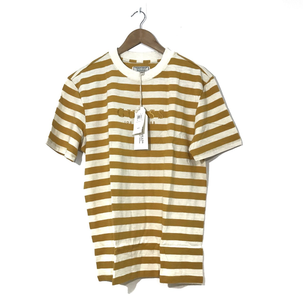 c41c3e0721 Guess Stripe Shirt Yellow White Colorway guess Los Angeles , - Depop