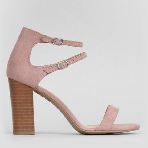 2c9016c758a9 NEW LOOK PINK DOUBLE ANKLE STRAP HEELED SANDALS Size 4. Worn - Depop