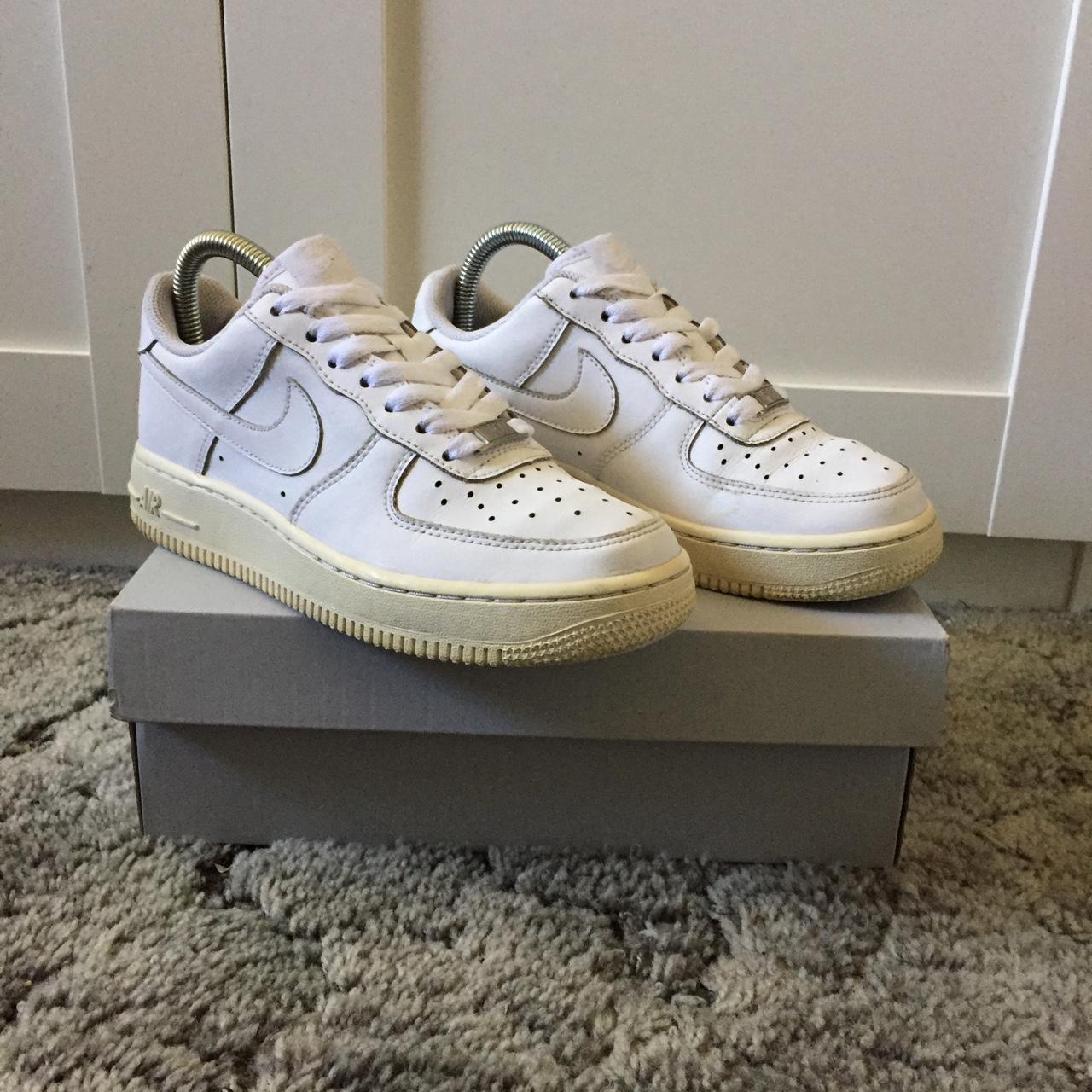 Nike Air Force 1. White. Minor dirt marks and Depop