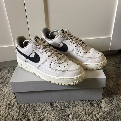 7987aae2895b Nike Air Force 1. Grey Black White. Minor scuffs on front of - Depop