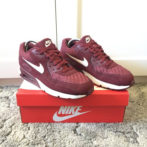 official photos 9fb26 88fba Nike Air Max 90. Burgundy White. Minor dirt marks on midsole - Depop