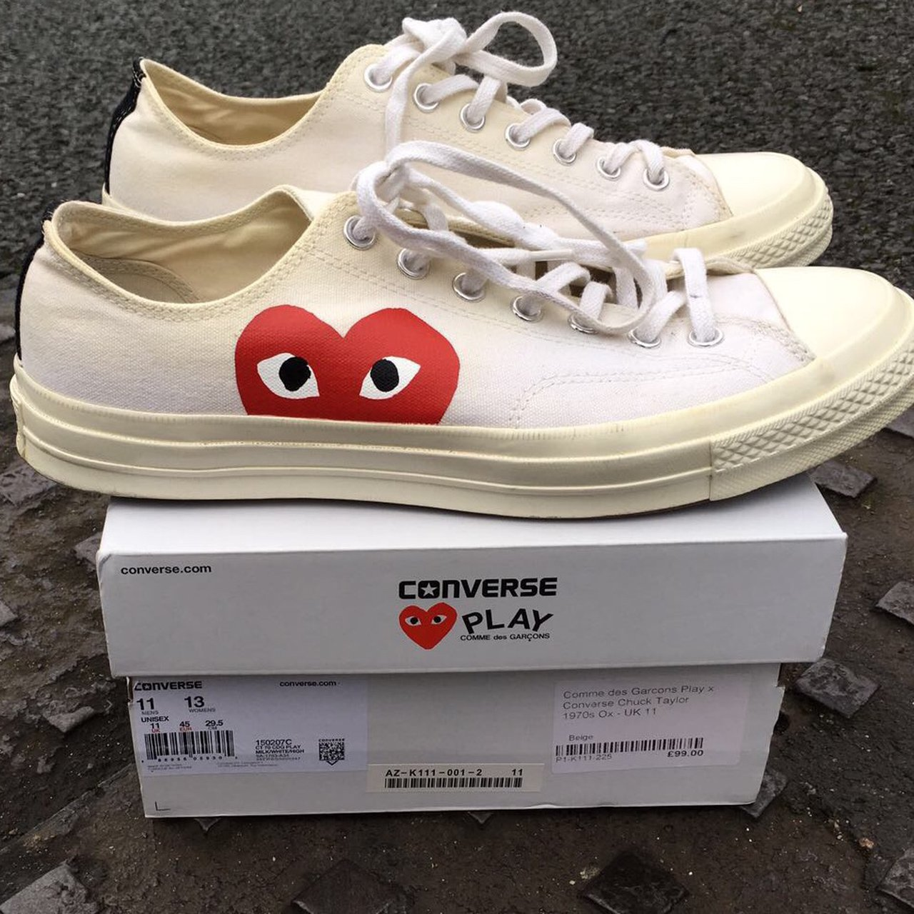 65a738b1c47f Converse x CDG play 70s chucks in cream white in size 11 13 - Depop