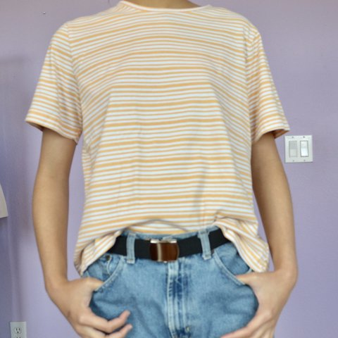 09807bf2 Yellow Striped Boxy Fit Shirt - Perfect for spring and bring - Depop