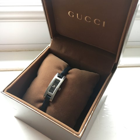 c490352a1ee Genuine GUCCI small square faced black leather strap watch. - Depop