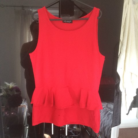 1846fe0829dc13 Red top size 16. Peplum top. Can dress up or down in. Lovely - Depop