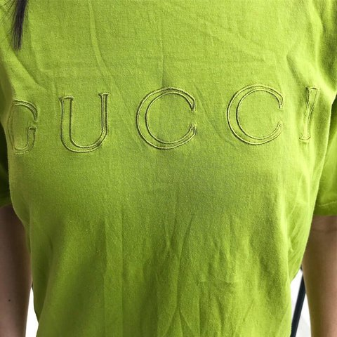 Vintage Gucci bright lime green short sleeve t shirt with ⭐ - Depop 4464f78a0