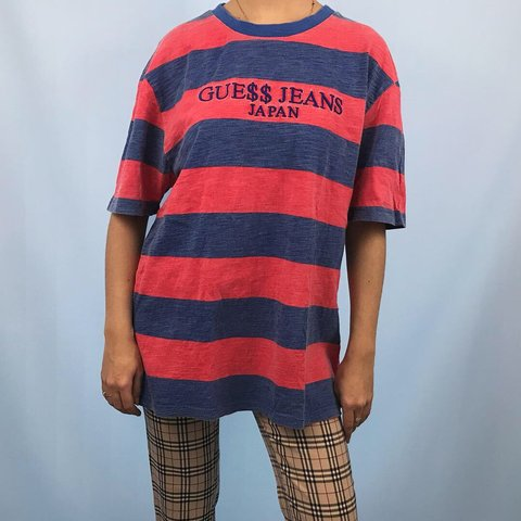 95e276dce641 @studdedpetals. 6 months ago. Salford, United Kingdom. Guess ASAP A$AP  Rocky Japan exclusive striped red and blue t ...