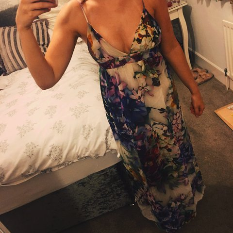 5bb36f592f6 Floral and colourful maxi dress from TOPSHOP with plunging - Depop
