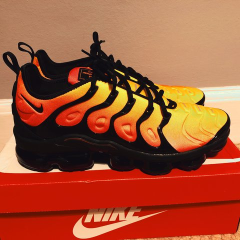 a0ece8a01cac1 Nike Air vapormax plus Black  Orange UK 9.5 New in - Depop