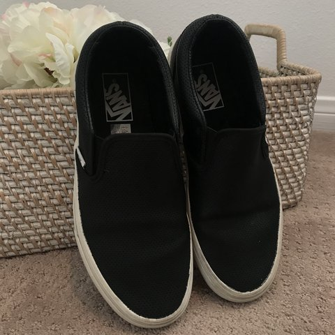 1867f0169fcfce VANS black pleather perforated slip ons worn but still have - Depop
