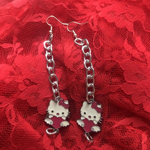 298cbf315 hello kitty chain link dangling earrings! i love these but i - Depop