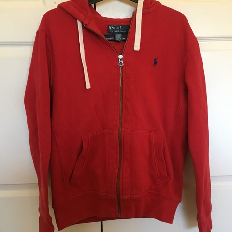 Polo Ralph Lauren Zip Up Hoodie Red Size Medium Little Of Depop