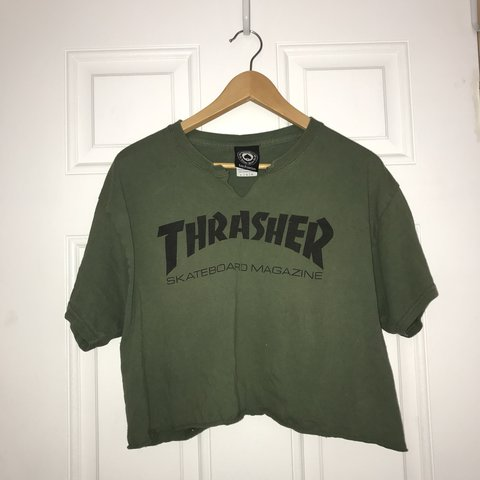 b6f4d6fa623c6f Skat8 or die Thrasher crop top perfect for that cute skate - Depop