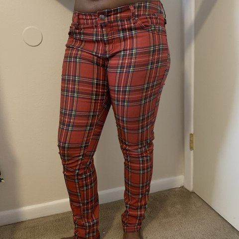 """30395a5354de @bluisaboy. yesterday. Lubbock, United States. Tripp NYC red plaid skinny  jeans. Size 30"""""""