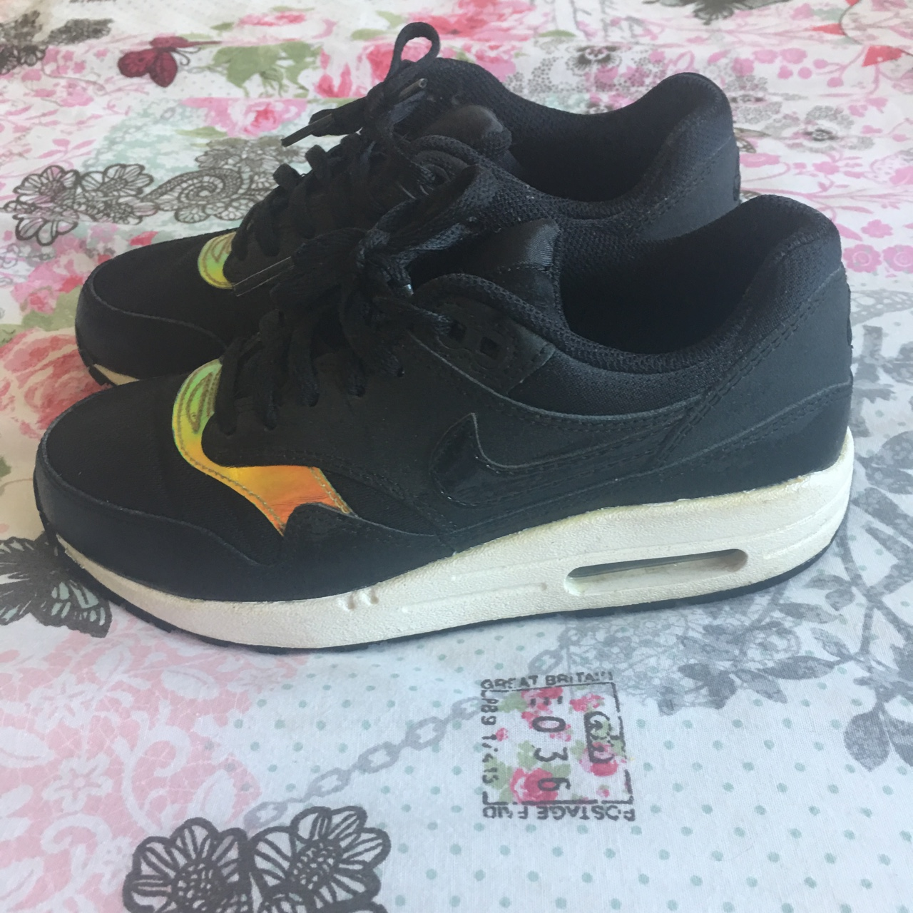 Nike Air Max 1 GS. Black with multicoloured hologram Depop