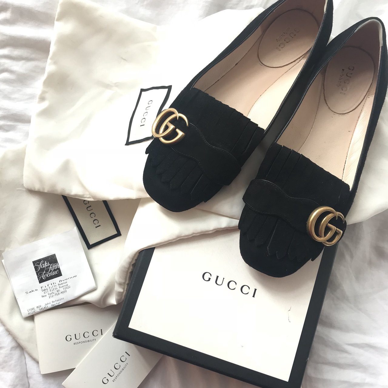 81d8a24f69e Gucci marmont black ballet flats Authentic