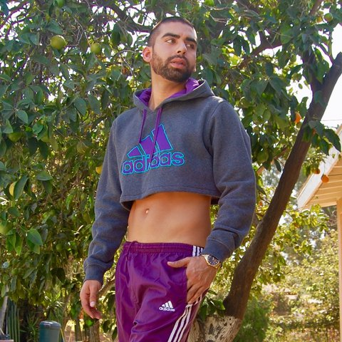 c7b0693bd40eb7 Men s Large Purple ADIDAS Hoodie customized Crop Top 9 10 - Depop