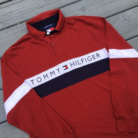5b87ae157 Vintage Tommy Hilfiger Polo Long Sleeve yet still in great - Depop