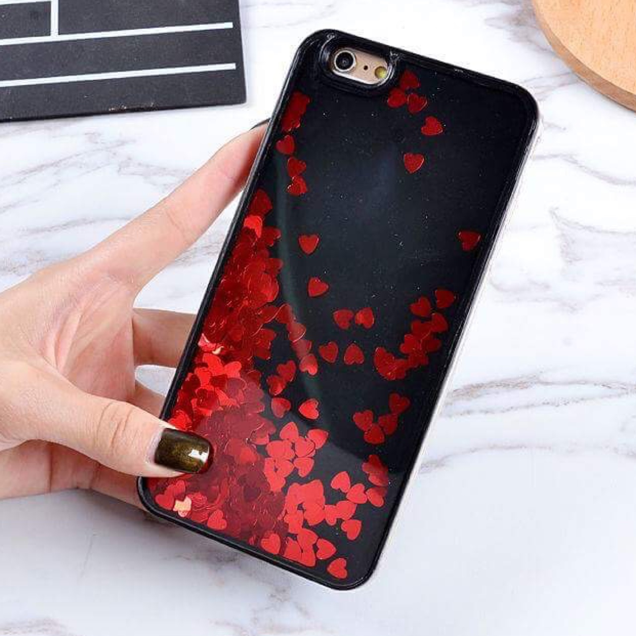 super popular 1aa55 267bd iPhone Red Heart Waterfall Case (for multiple phone... - Depop