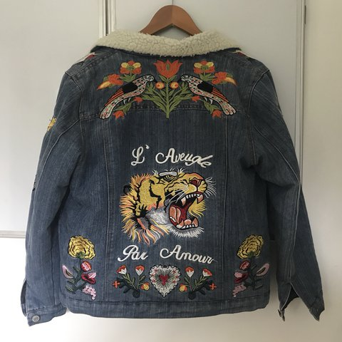 9e232d98d9c88 gucci replica embroidered denim jacket worn once