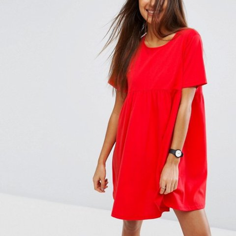 2378331f2267 @abbyseales. 2 years ago. Hove, United Kingdom. Cute asos babydoll ultimate  smock mini dress in bright cherry red size 8 very ...