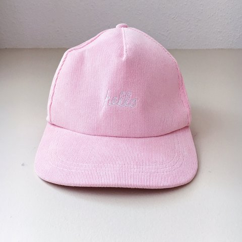 0bc183cd940 Millennial pink snapback cap with the words hello goodbye - Depop