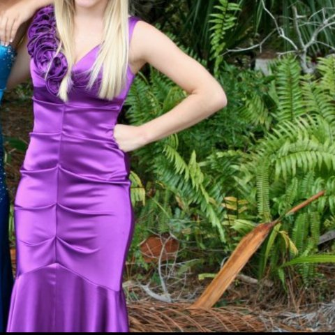 39a069a353 Purple mermaid dress from Caché. I wore it ONCE for prom! It - Depop