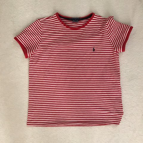 b8a629a0 @solokloth. 2 years ago. Los Angeles, United States. Ralph Lauren sport women's  striped red and white short sleeved shirt with blue embroidery. Size Medium