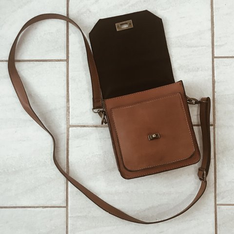 Super cute brown crossbody bag! Sturdy and has two small as - Depop 3d93dfba11d40