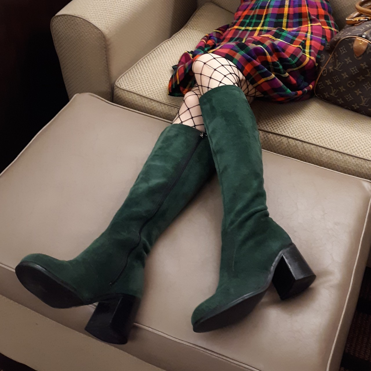 1970s green suede gogo boots Womens