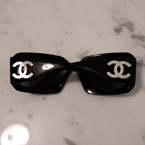 a6f4618794 CHANEL y2k mother of pearl logo sunglasses Super chunky cute - Depop