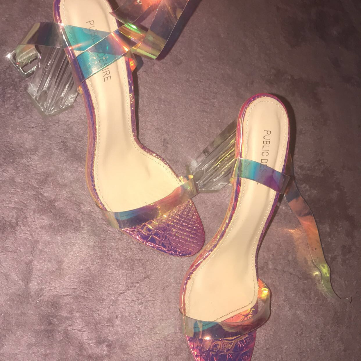 5860326ec9a ALIA STRAPPY PERSPEX HIGH HEELS IN IRIDESCENT WITH... - Depop