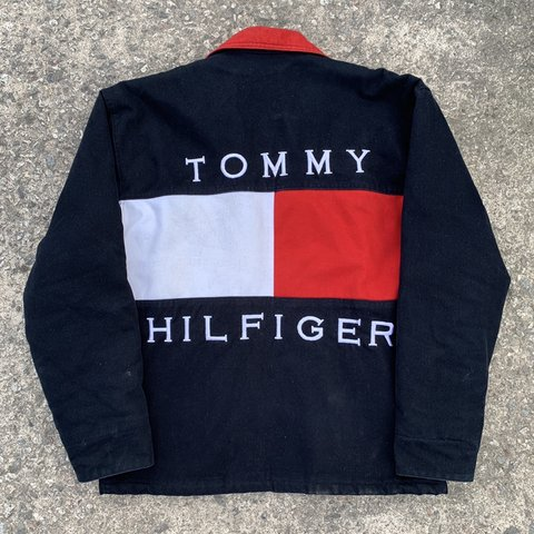 ae60179a7 @saltmill. 3 days ago. Saltash, United Kingdom. Rare Vintage Tommy Hilfiger  Navy / Red / White Jacket, Size L.