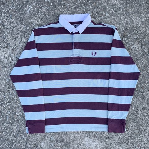 6b4f581be @saltmill. 8 months ago. Saltash, United Kingdom. Vintage Fred Perry Long  Sleeve Stripe Rugby Polo, Size XL.