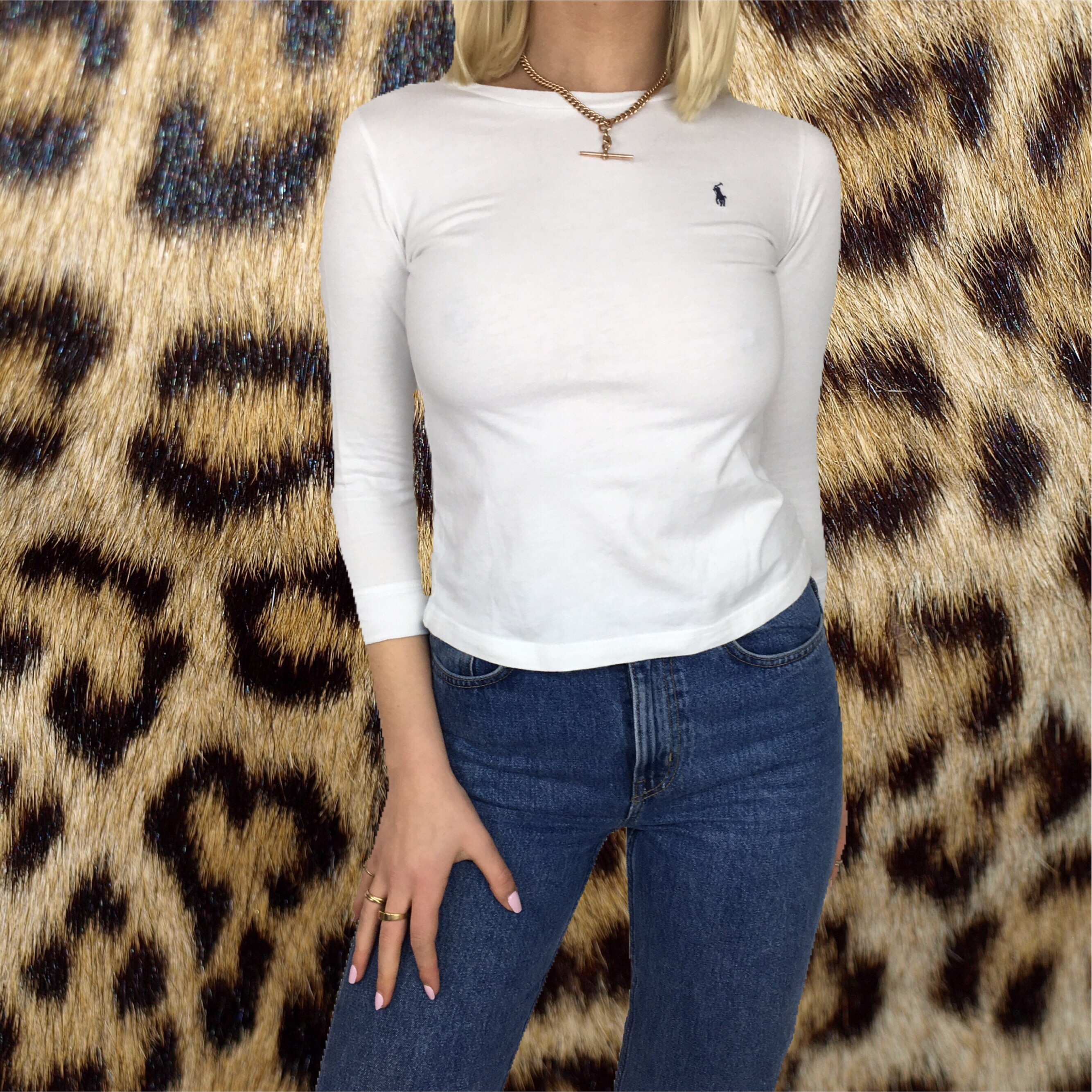 ad5614a9 @affricasjunk. last year. London, United Kingdom. POLO. Lovely vintage  white long sleeved crop top ...
