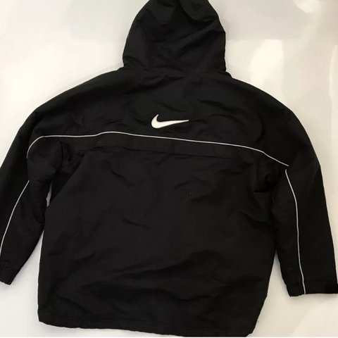 3b3f13137 vintage nike waterproof w big tick on the back and hood. so - Depop