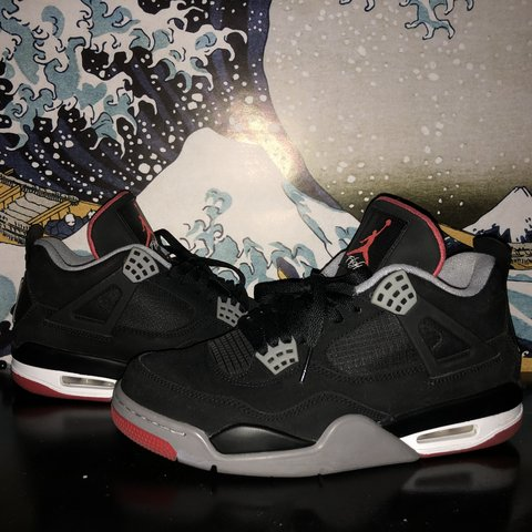 "b472194d1c29b8 Air Jordan 4 Retro ""Bred"" 9 10 condition OG box Tags  Air - Depop"