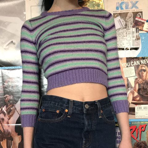 b3b9805f061 @sleepgrips. last year. Houston, United States. STRIPED FUZZY CROP TOP W  GLITTER ✨✨✨💓 this sweater is so ...