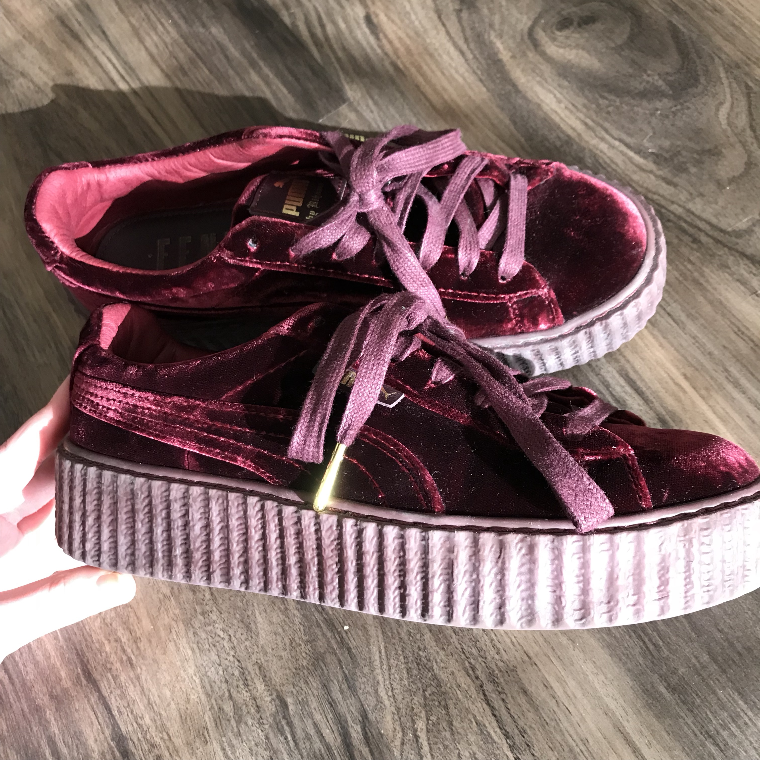 new product 29c3c 5850e red velvet rihanna fenty puma creepers in size 7.5!... - Depop