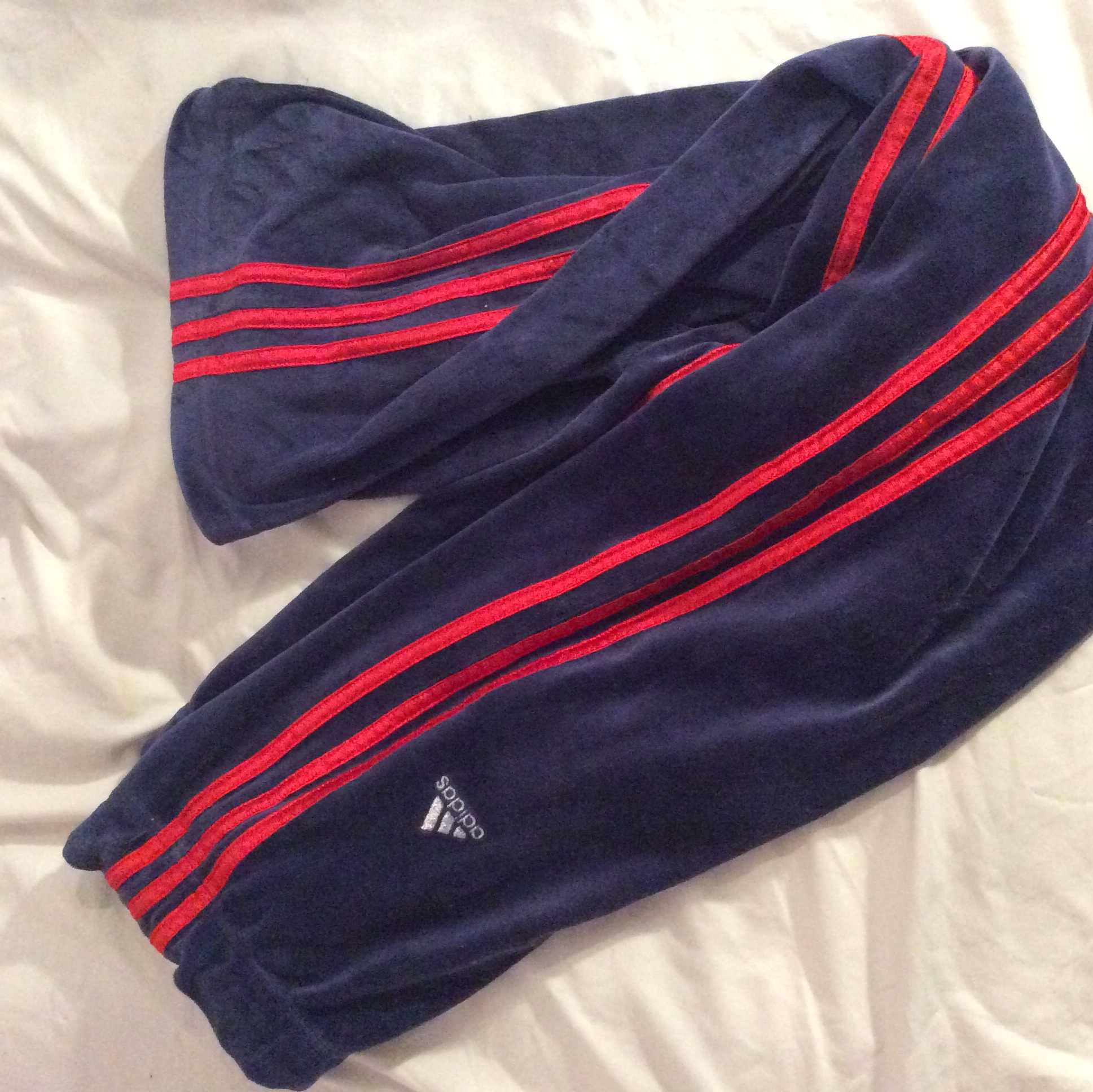 Navy blue and red striped Adidas Track pants Depop