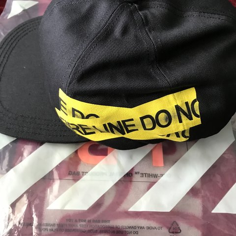 19df3283548 Off White Fire tape hat Never Worn bnwt and product is firm - Depop