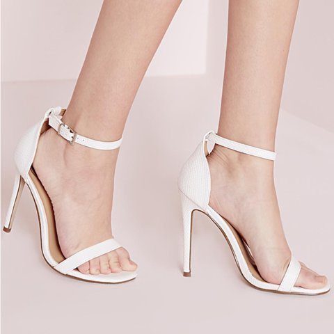 2814b3df494 Missguided white barely there heels strappy heeled sandals - Depop