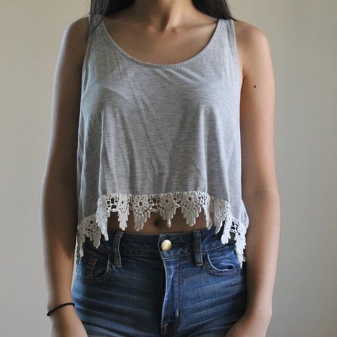 a1745343a47d Tank top with lace crochet detailing at bottom. Grey with to - Depop