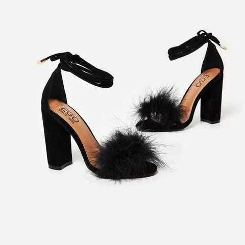 65e006661f @laurabethx. last year. Hayes, United Kingdom. Ego black fluffy block heels  👠