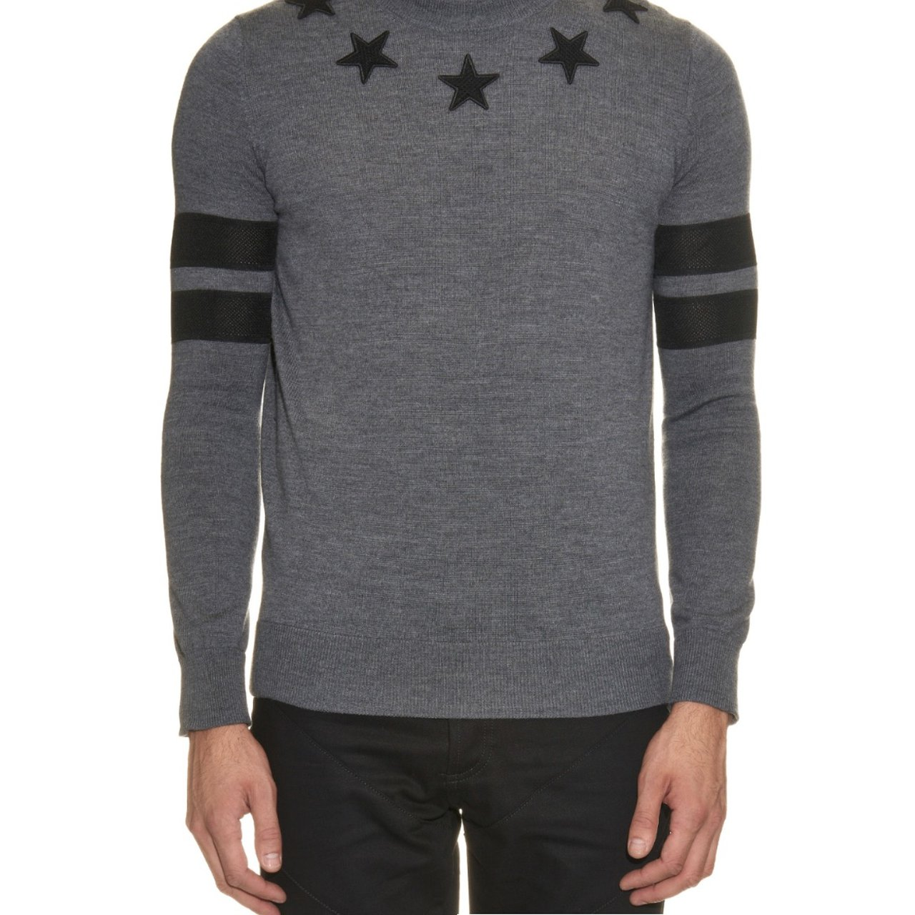 Givenchy Star-Patch Wool-Knit Sweater. Grey 062a8c448