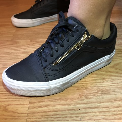 d3c877d32561 black vans sneakers with a gold zipper and black laces great - Depop